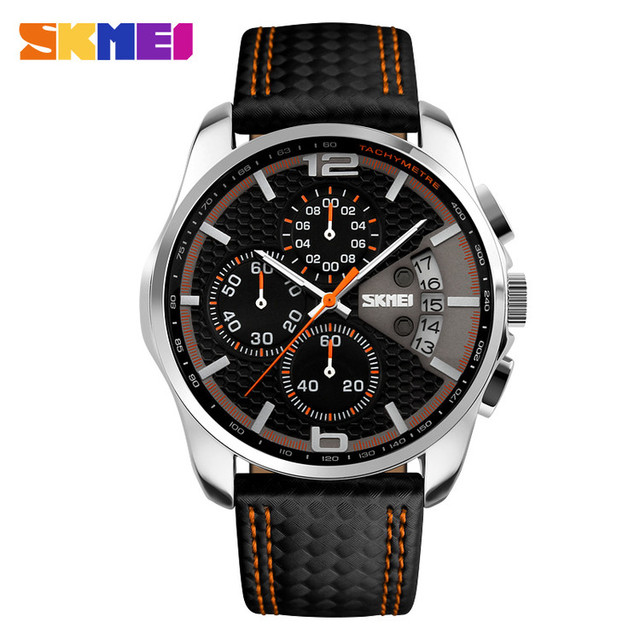 Wholesale skmei #9106 hot selling leather brand quartz watches of mens fashion leisure watch