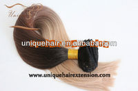 Full cuticle correct clip in human hair extension