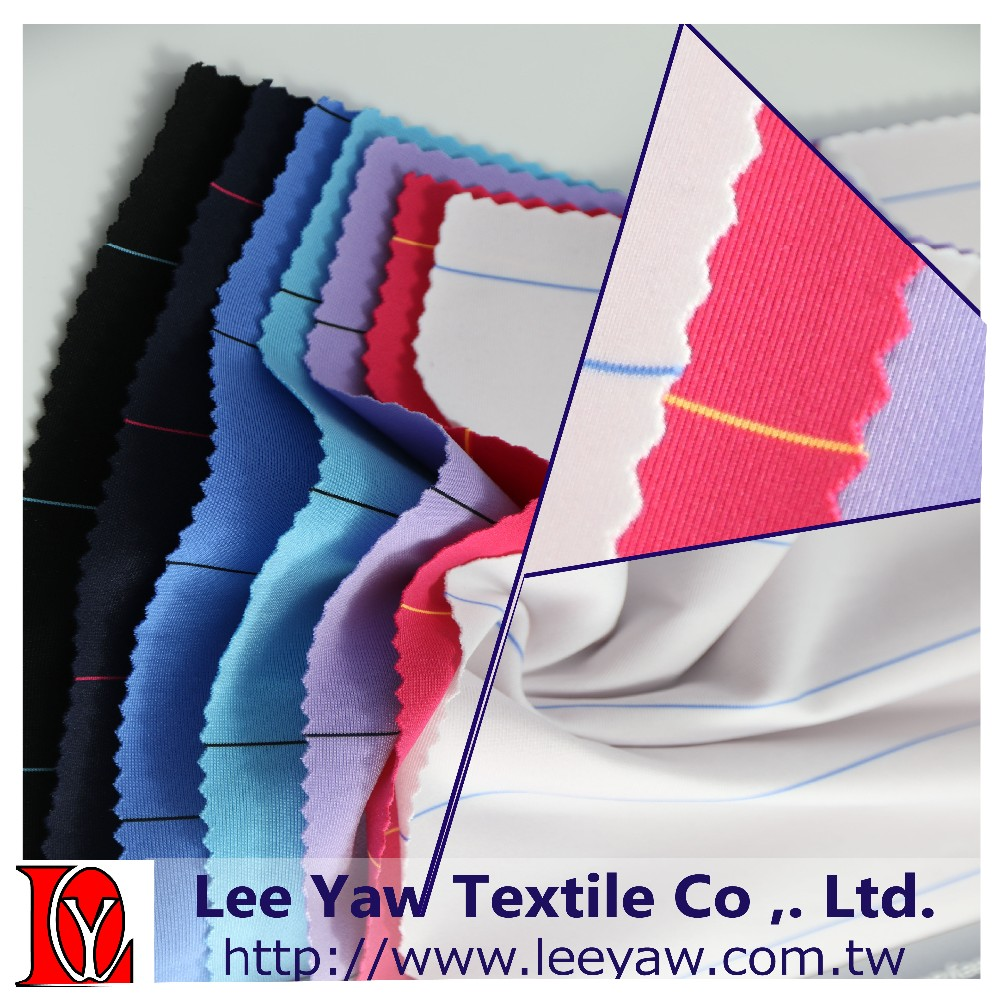 polyester spandex yarn dyed auto stripe jersey fabric for garment