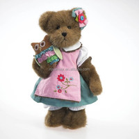 emulational tededy bear with dress owl brown dress stuffed teddy bear