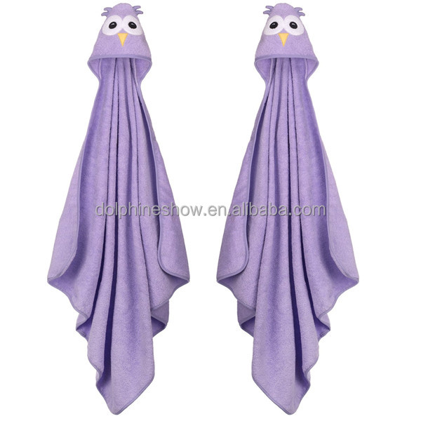 Private label Cheap custom cute kids cartoon purple owl design soft 100% cotton and bamboo hooded baby bath embroidery towel