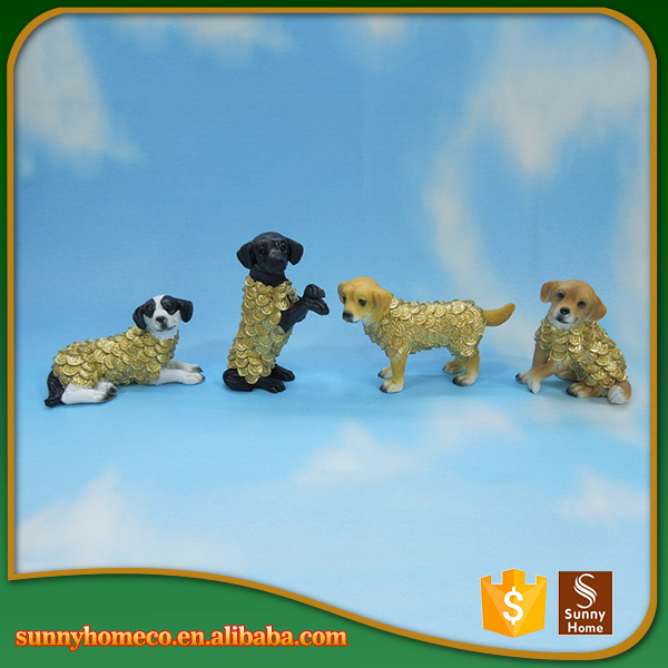 Handmade gold dog statues polyresin home decoration pieces resin animal statues