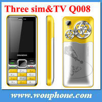 2013 new arrival Q008 Three sim card mobile phone with TV function