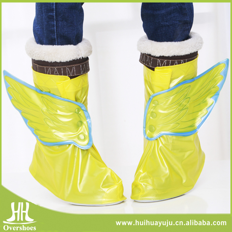 Hot sale fashion slip-resistant kids galoshes overshoes with wing