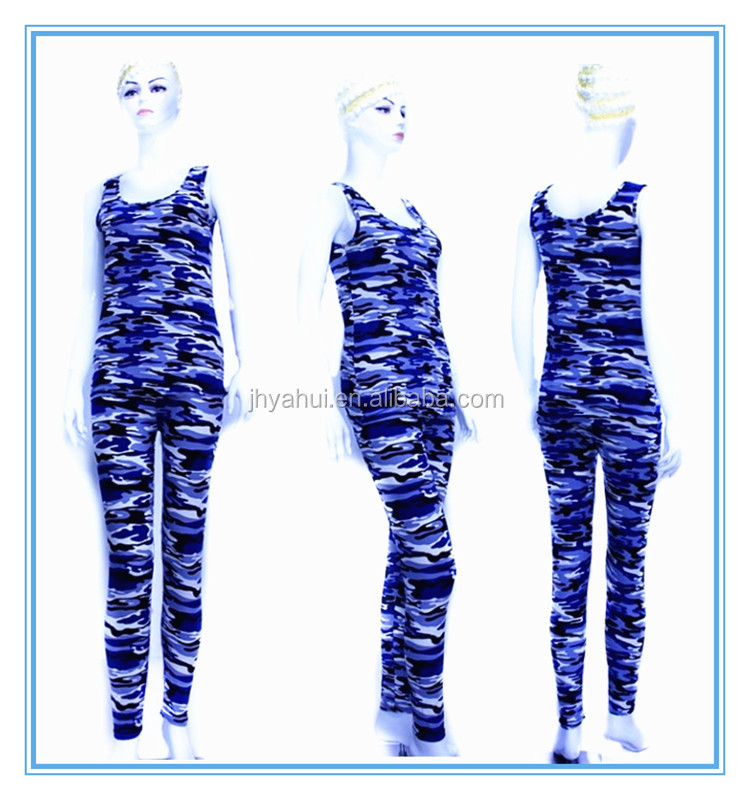 Camouflage pattern top bra and pant fitness yoga wear suit