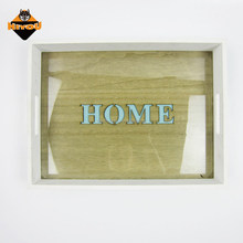 Various design personalised wholesale food wooden serving tray with cut out finish and glass lining