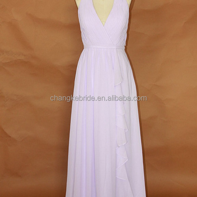 Elegant Light Purple Chiffon Long Bridesmaid Dresses 2016 Halter Wedding Formal Dress