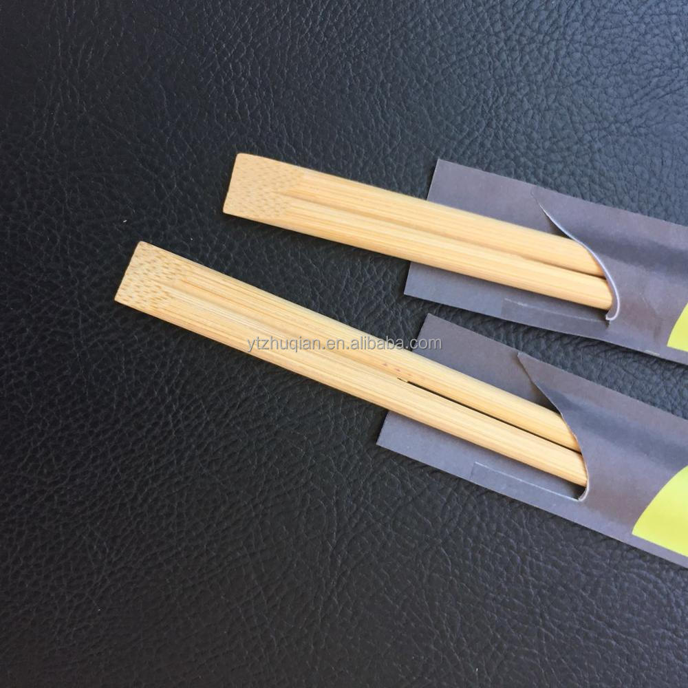Cheap price good quality disposable bamboo round chopsticks with paper wrapped printed logo