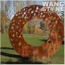 Laser Cut Corten Steel Garden Art Metal Leave Sculpture for Decoration