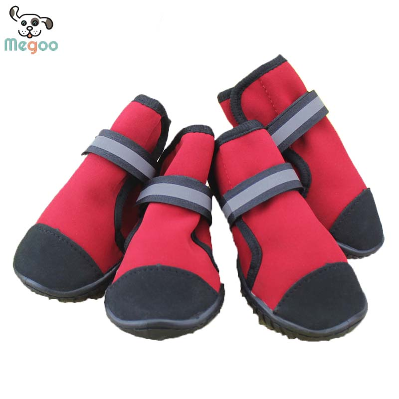 4pcs /Set Waterproof Dog Shoes PVC Bottom Non Slip Winter Warm Dog Boots