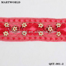 red beaded sequin belt trimming for women dress (QST-001-2)
