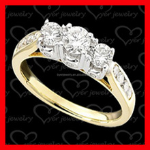 ladies diamond gold plated jewelry real 925 silver rings