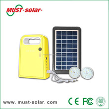 Small rechargeable led home lighting 6V3W mini solar energy system