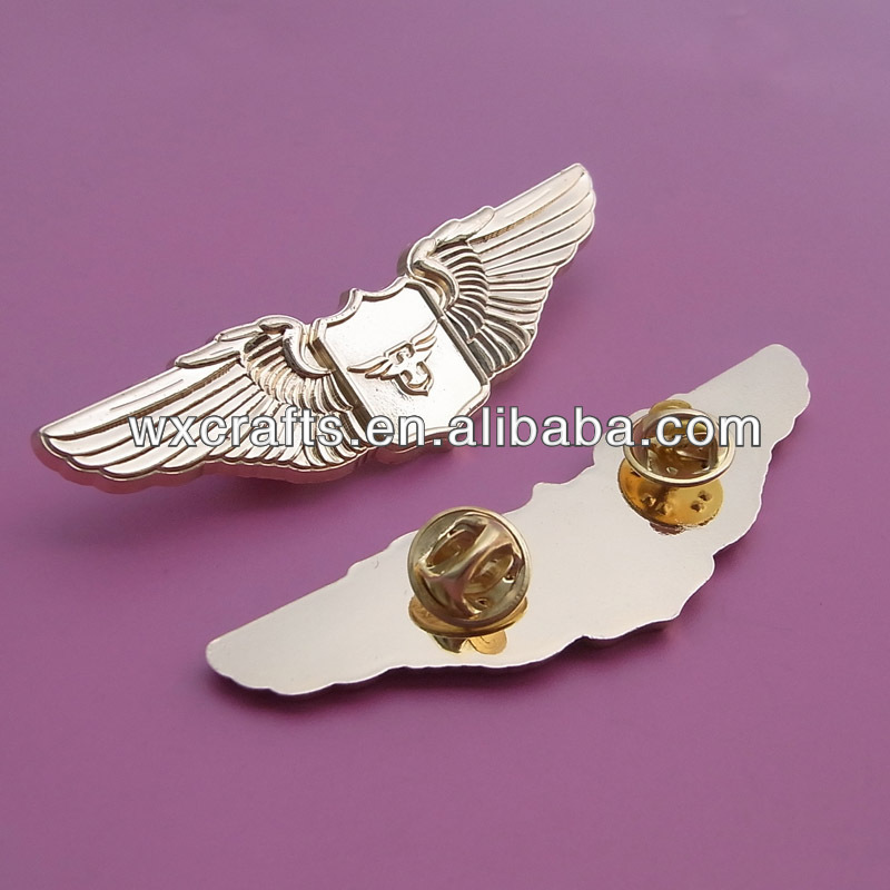 gold plating metal wing badge metal pin
