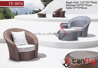 TF-9074 3pcs Outdoor dust-protected round wicker rattan single sofa with ottoman and round coffee table