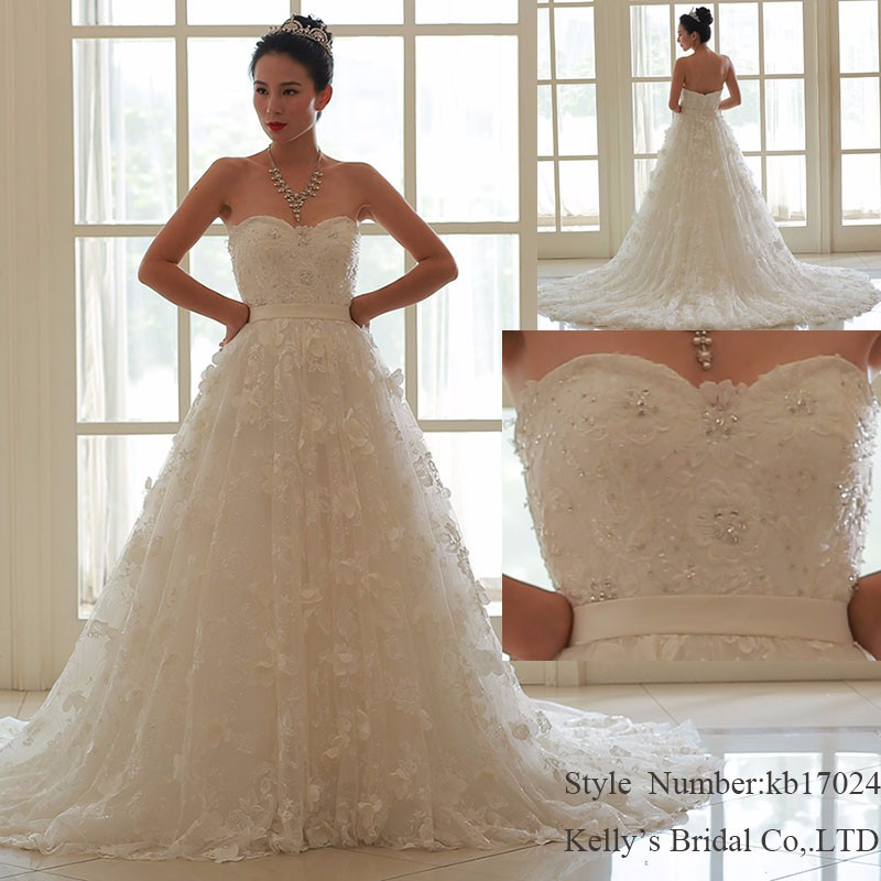 kb17024 Handmade flowers train design your own impression bridal collections elegant sweetheart alibaba