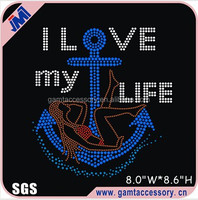 I Love My Life Motif Rhinestone Heat Transfer Iron On Tshirt
