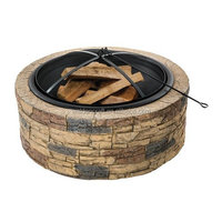 35 inch Cast outdoor Stone fire pit, wood burning fire pit table