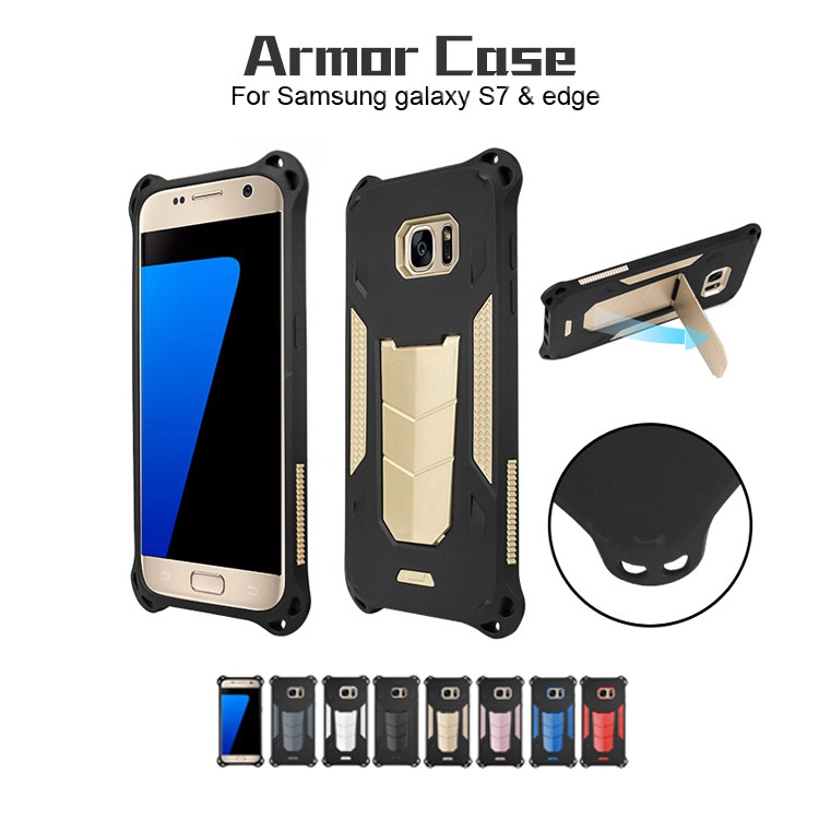 Tough Iron Man Armor Case, Kickstand Shockproof TPU PC 2 in 1 Hybrid Armor Phone Case For Samsung Galaxy S7 edge