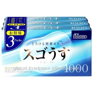 Japan female condom ' Sugo Usu 1000 ' --- inside top jelly-filled condom --- 12 x 3p