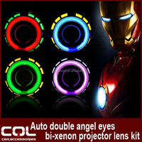 CQL 2.5inch H1 Xenon Light Double Angel Eye Hid Projector ,G1 bixenon Auto parts tuning double angel eye hid xenon projector H4