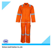 orange long sleeves reflective safety jumpsuit for men