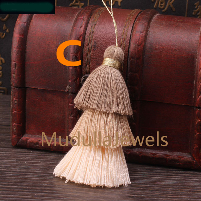 T17062802 Boho Fashion Colorful Tiny Cotton Tassel Pendant Handmade 3 Layer Tassel Charm Jewelry Making