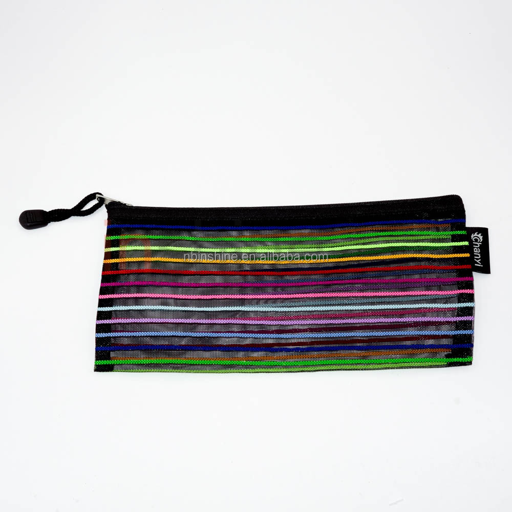 Promotional rainbow pencil case for school , Nylon Color Pencil Case