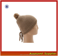 XY212/ Crocheted mens reverse jersey beanie hat/ cheap reverse jersey hat with pom