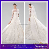 2015 Very Beautiful Elegant Bateau Neckline Allover Lace Zipper White A-line/Princess Watteau Train Long Sleeves Wedding Gown