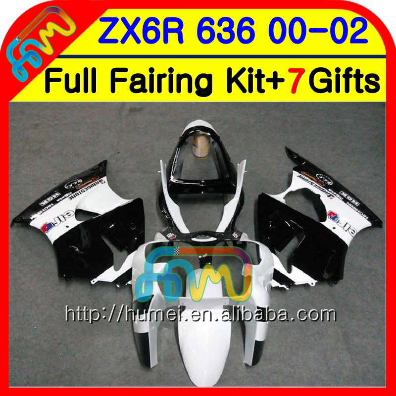 Body For KAWASAKI NINJA ZX636 ZX-6R ZX6R <strong>00</strong> 01 02 White black Hot NOO.1 ZX 6 R ZX-636 600CC ZX 636 ZX 6R 2000 2001 2002 Fairing