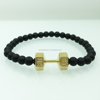 Black natual onyx charm bracelet 316l stainless steel gold dumbbell men's dumbbell bead bracelet