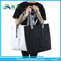 custom made 2015 eco friendly plain black cotton tote bag