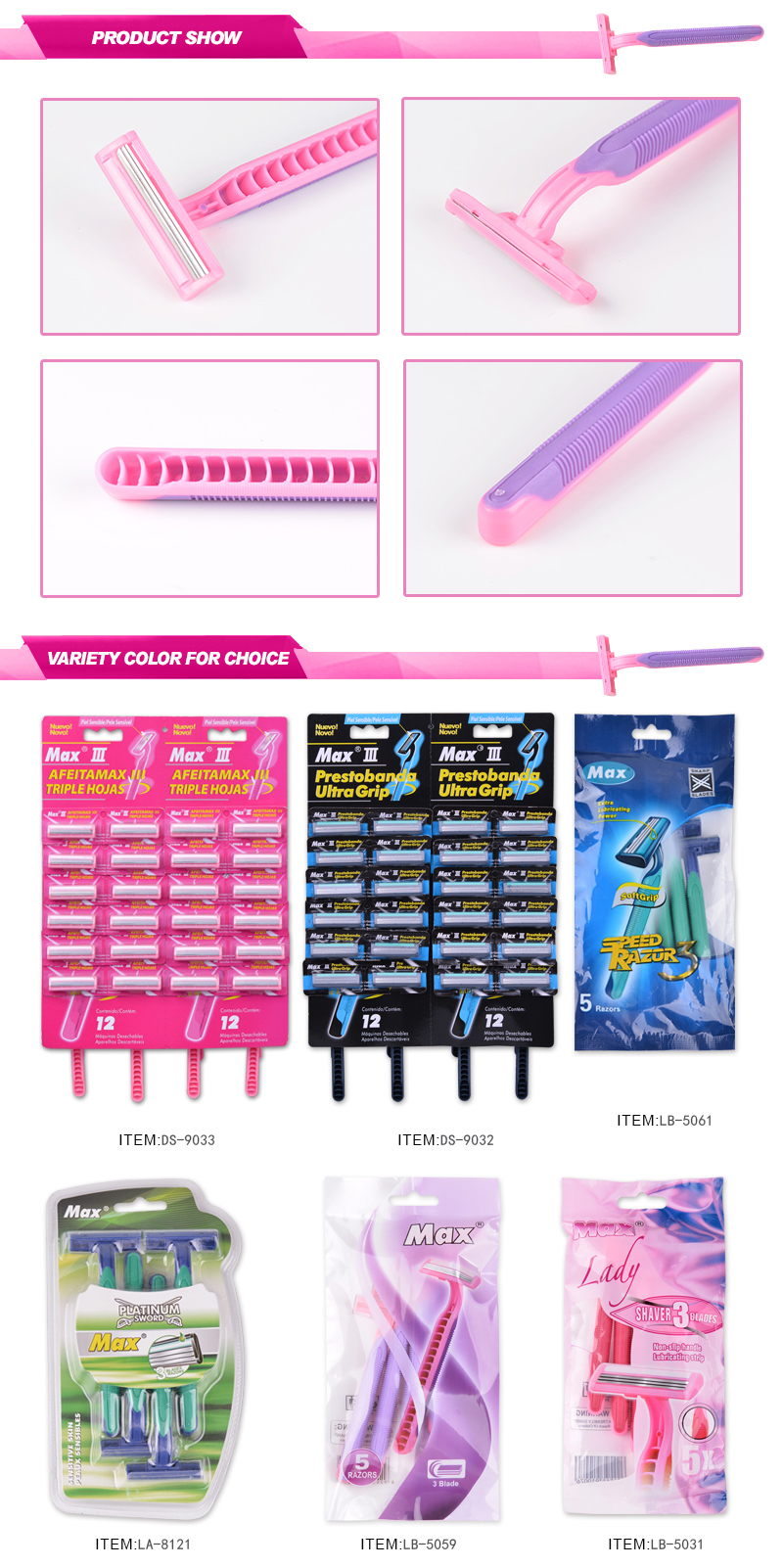 triple blade disposable straight razor female razor