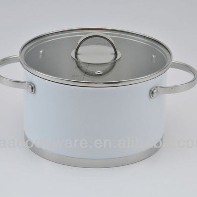 Stainless Steel casserole with white high temperature painting coating