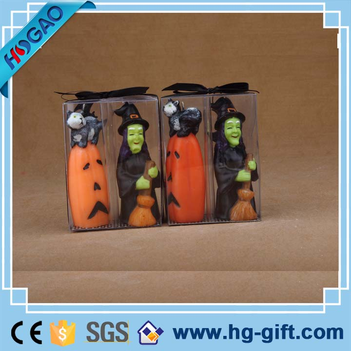 The terrorist Halloween pumpkins and witch figurines candle wax holder jars
