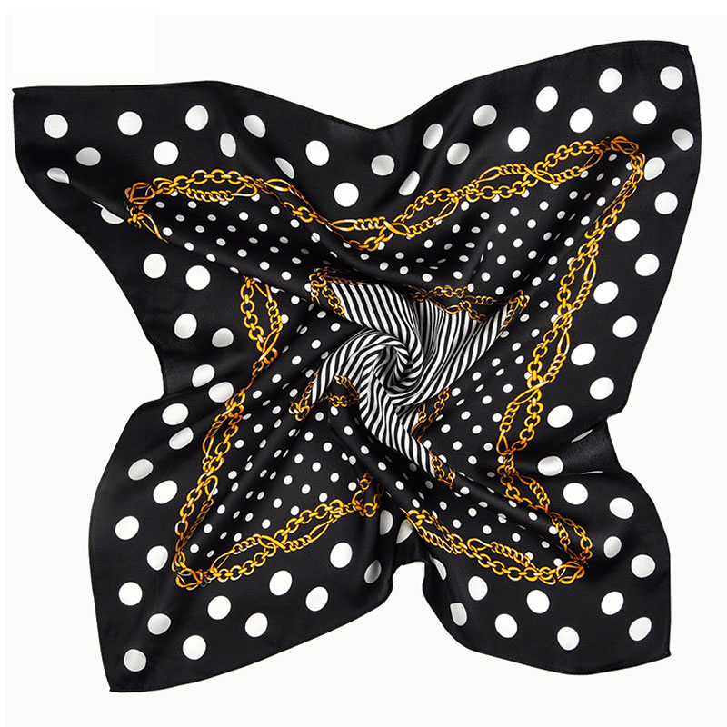 2017 New promotional fashion pattern digital printed 50*50cm satin square 100 pure silk custom printed polka dot silk <strong>scarves</strong>