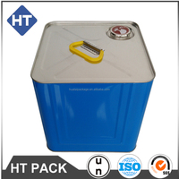 10 liter printed solvent pail, UN approved square drums for packing thinner/hardener/cleaner