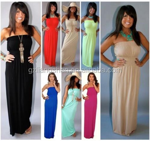 2015 fashion OEM New Women Sexy MIRACLE FIT MAXI DRESS STRAPLESS MAXI LONG LENGTH SOFT JERSEY KNIT Summer Beach Dress