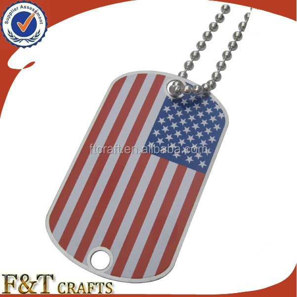 custom shape country flag stainless steel plain 2 hole dog metal tag with chain pendant
