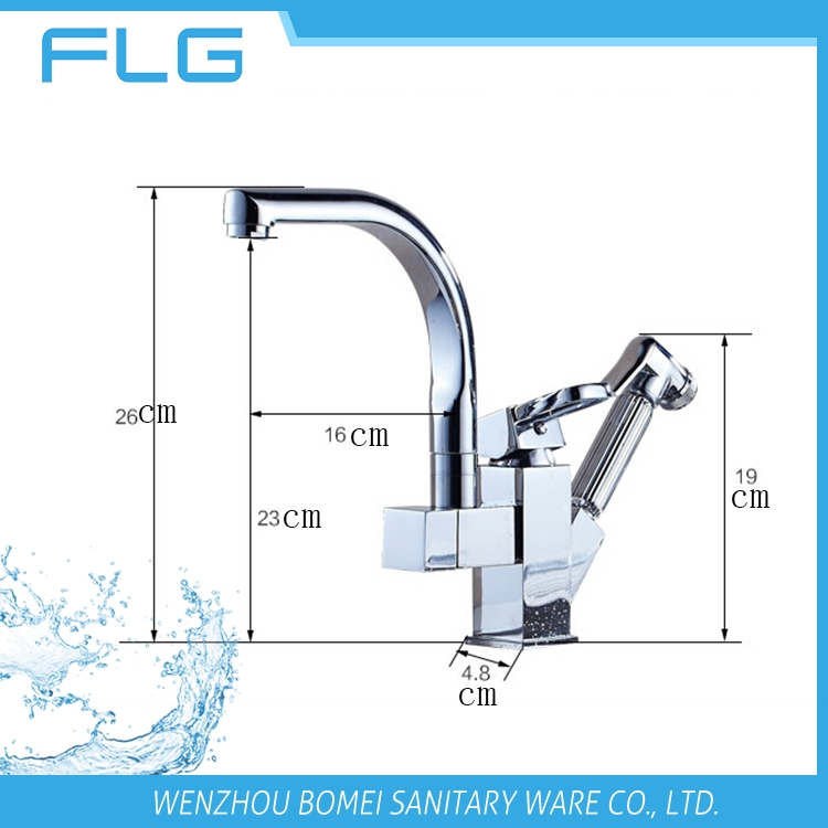 Chrome faucet 2 way pull out kitchen sink faucet