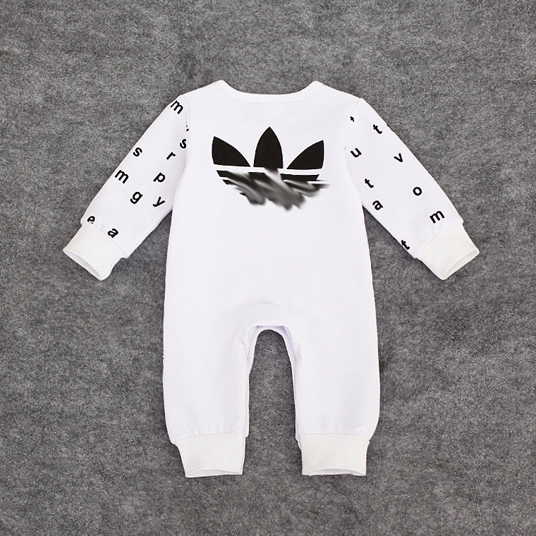 Long sleeve solid color cotton baby bodysuit plain white baby romper