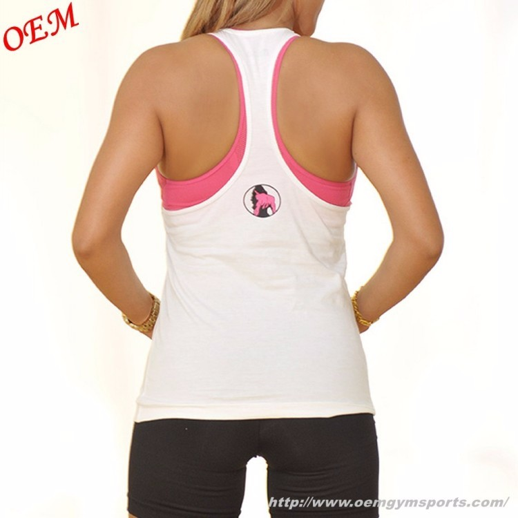 2018 China manufacturer professional custom wholesale 100% cotton ladies gym vest