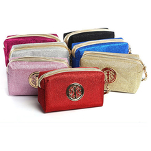 European and American ladies handbag bright pink solid color storage bag can be customized sequins cosmetic bag