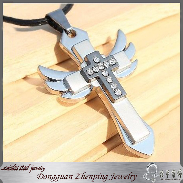 NEW Fashion Stainless Steel Cross Pendant Men's Necklace Chain with leather Rope