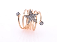 Fancy Womens Five-pointed star Ring Cubic Zirconia Yellow Gold Filled Multilayer Adjustable Ring