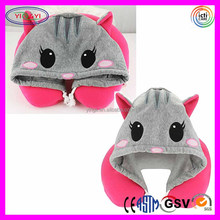 E347 Animal Cat Hoodie Travel Pillows Neck Support Super Comfort Plush Animal Neck Pillow