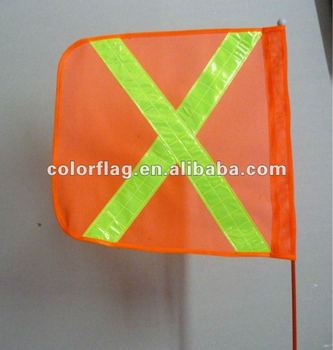 X orange safety warning flag
