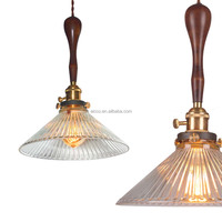 Moden Decorative Hanging Vintage Wooden Pendant Light With Glass Modern Pendant Lighting
