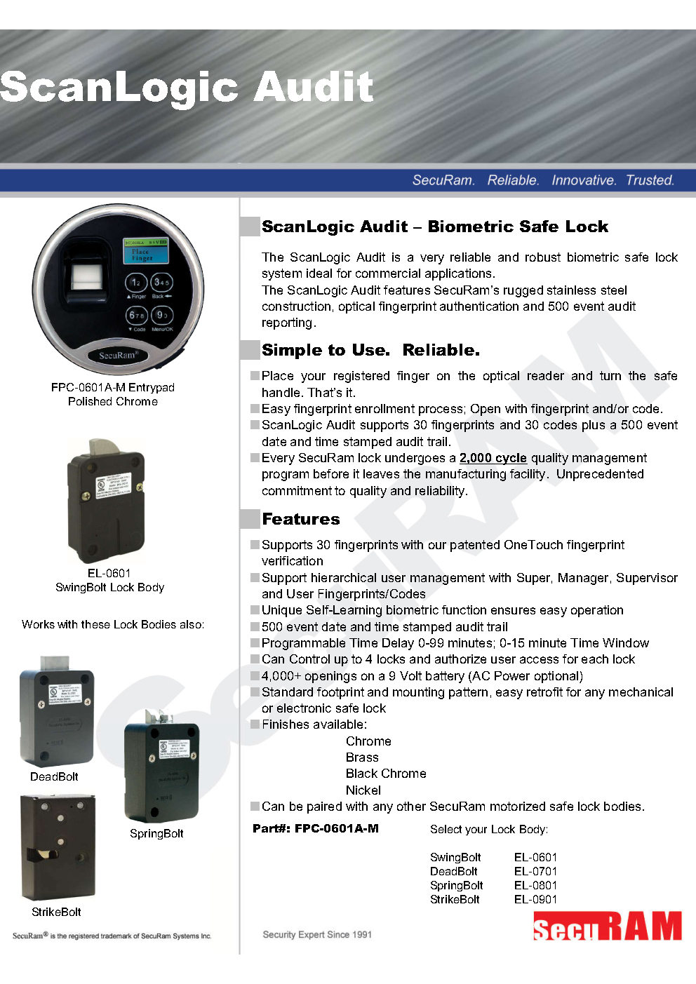 Gun safe fingerprint lock